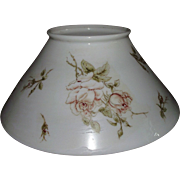 Antique 14 inch Blown White Glass Slant Shade with Rolled Top Lip and transfer Rose decorations.