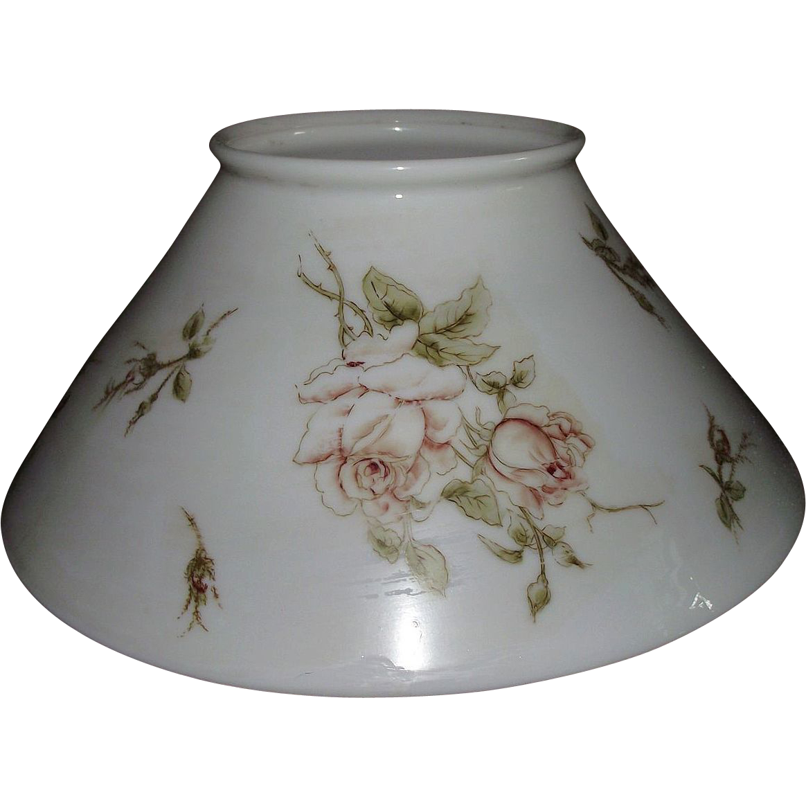 Antique 14 inch Blown White Glass Slant Shade with Rolled Top Lip with transfer decorated Roses .