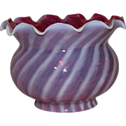 Ruffled 4 inch Cranberry Shade with Optic White Overlayed Stripes !!!