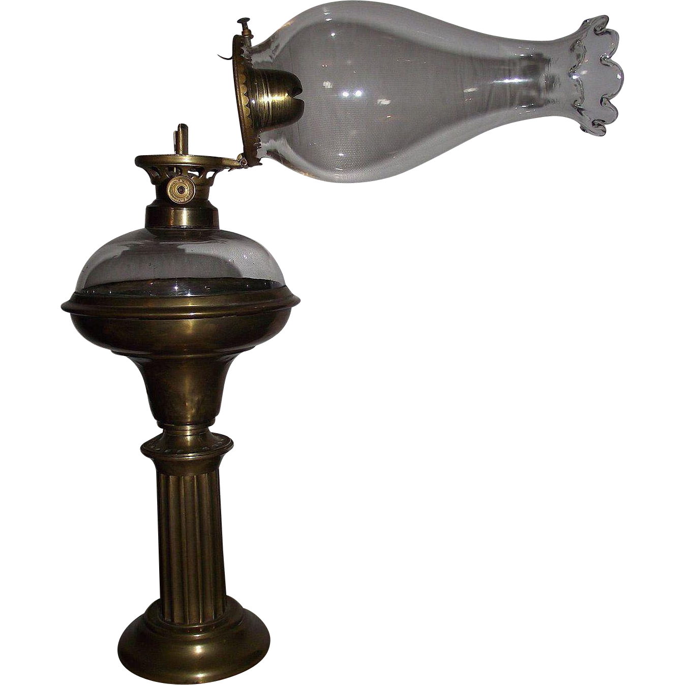 Rare Upgraded Civil War Period Converted Solar Lamp with Blown Glass Fount insert, and Petal Top Flange Lip Chimney & Burner !!!