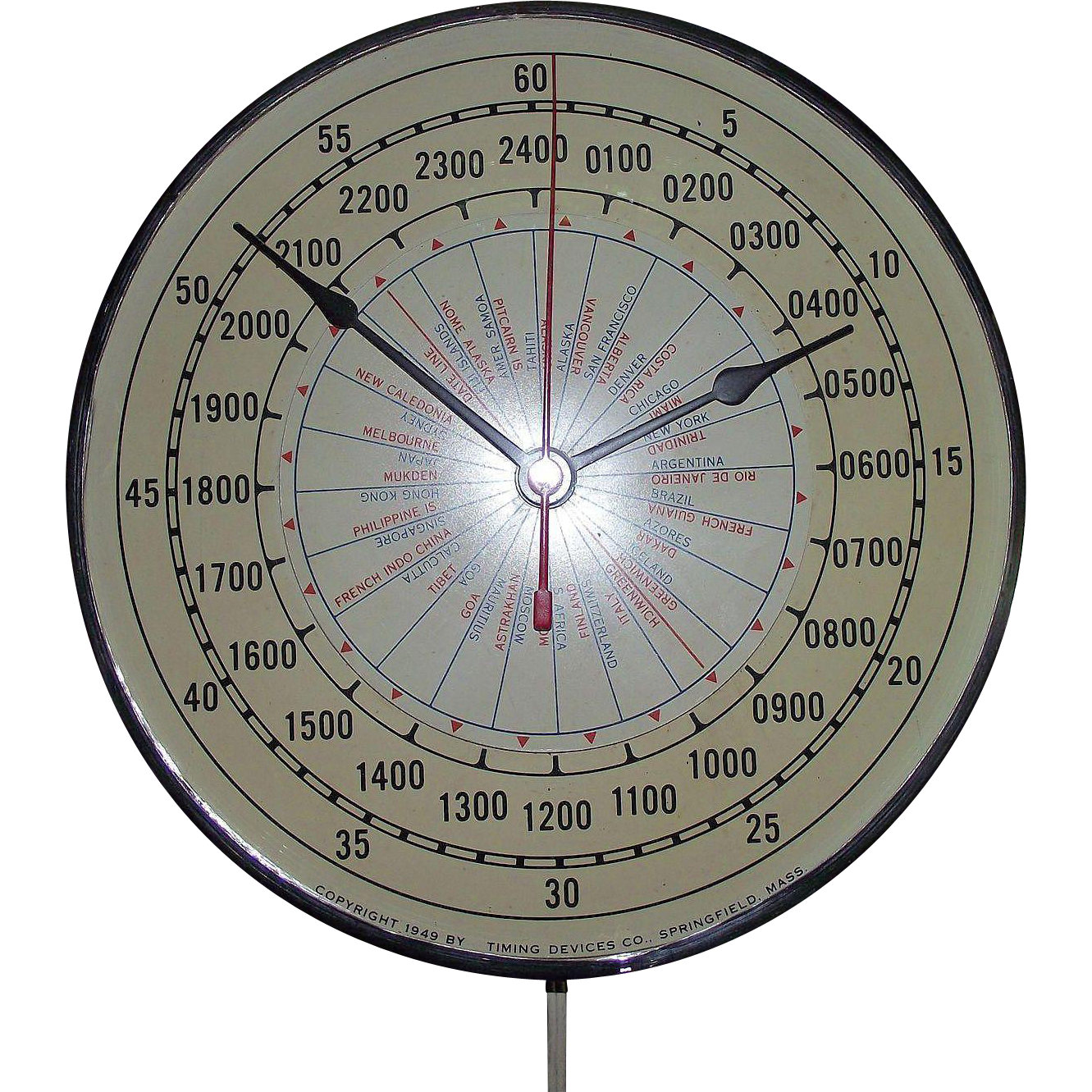 "Working Mid Century ""World Military Time"" Electric Wall Clock Patented 1949 with Dome Glass !!!"