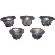 Set of 5 Matching 4 inch Shades with Glimmering Silver Ribs Pattern Circa 1910 !!!