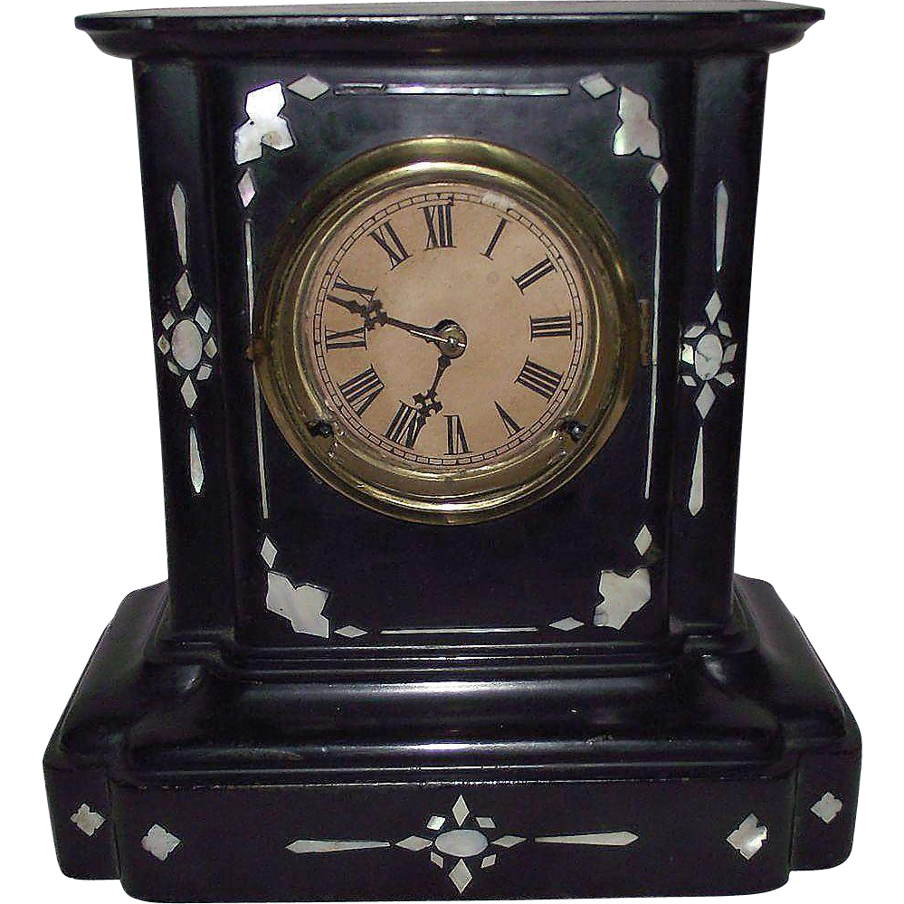 Mother of Pearl inlayed Cast Iron Clock Dated 1857 with Time & Hourly Strike !!!