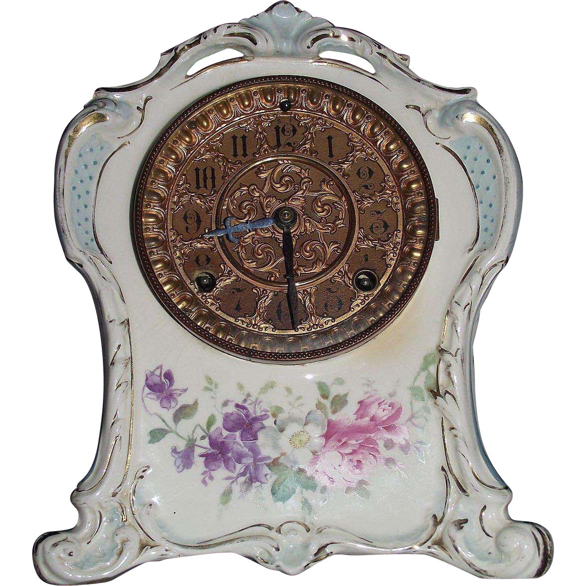 "Rare Unpublished  ""La Clayette"" Royal Bonn China Case Clock with Pierced Top Crest & Ansonia Clock Movement  !!! Circa 1886."