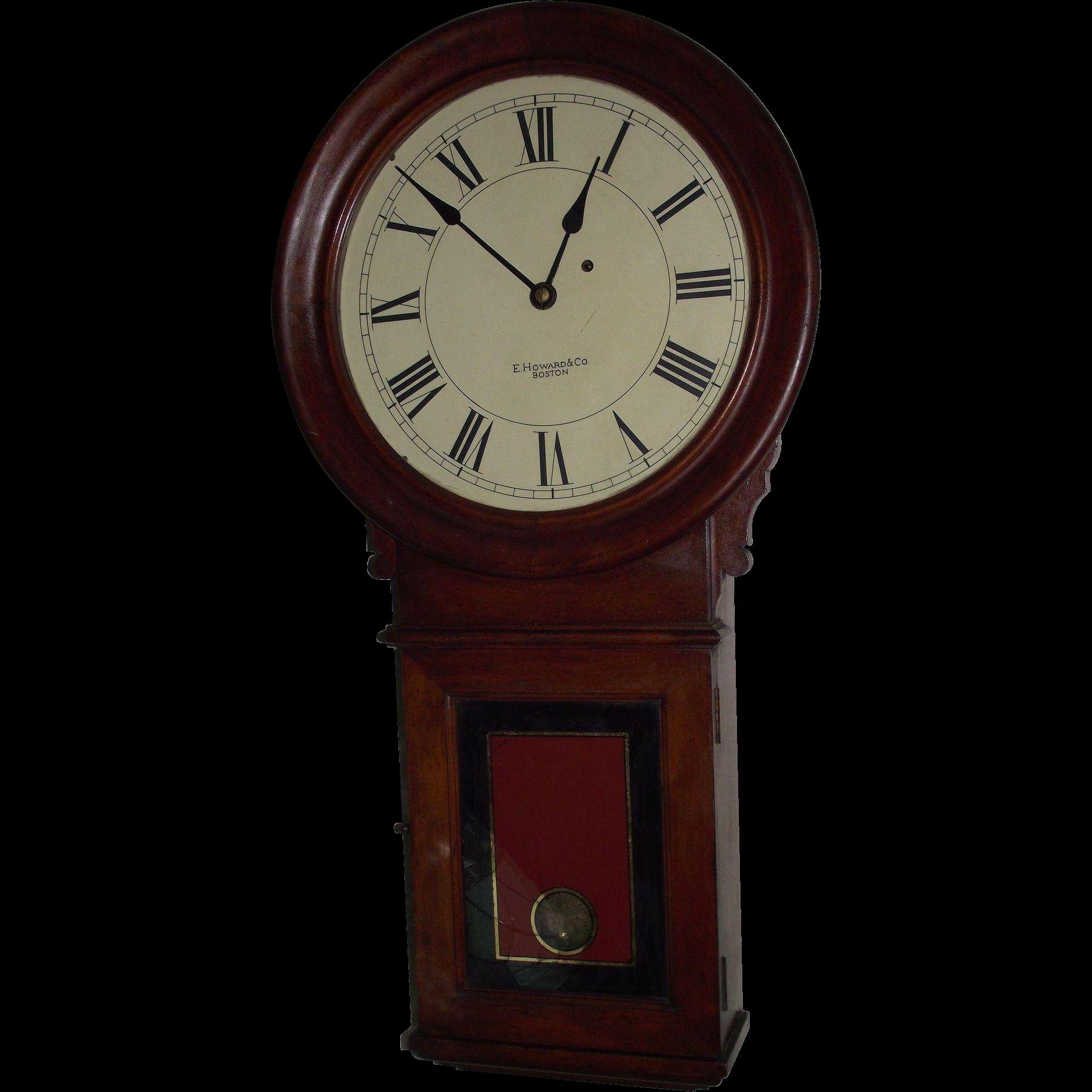 """Rare CHERRY  """"E. Howard & Co."""" No. 70 Wall Regulator with original Damascened Brass Pendulum Bob & Glass Tablet !!! Circa 1890."""