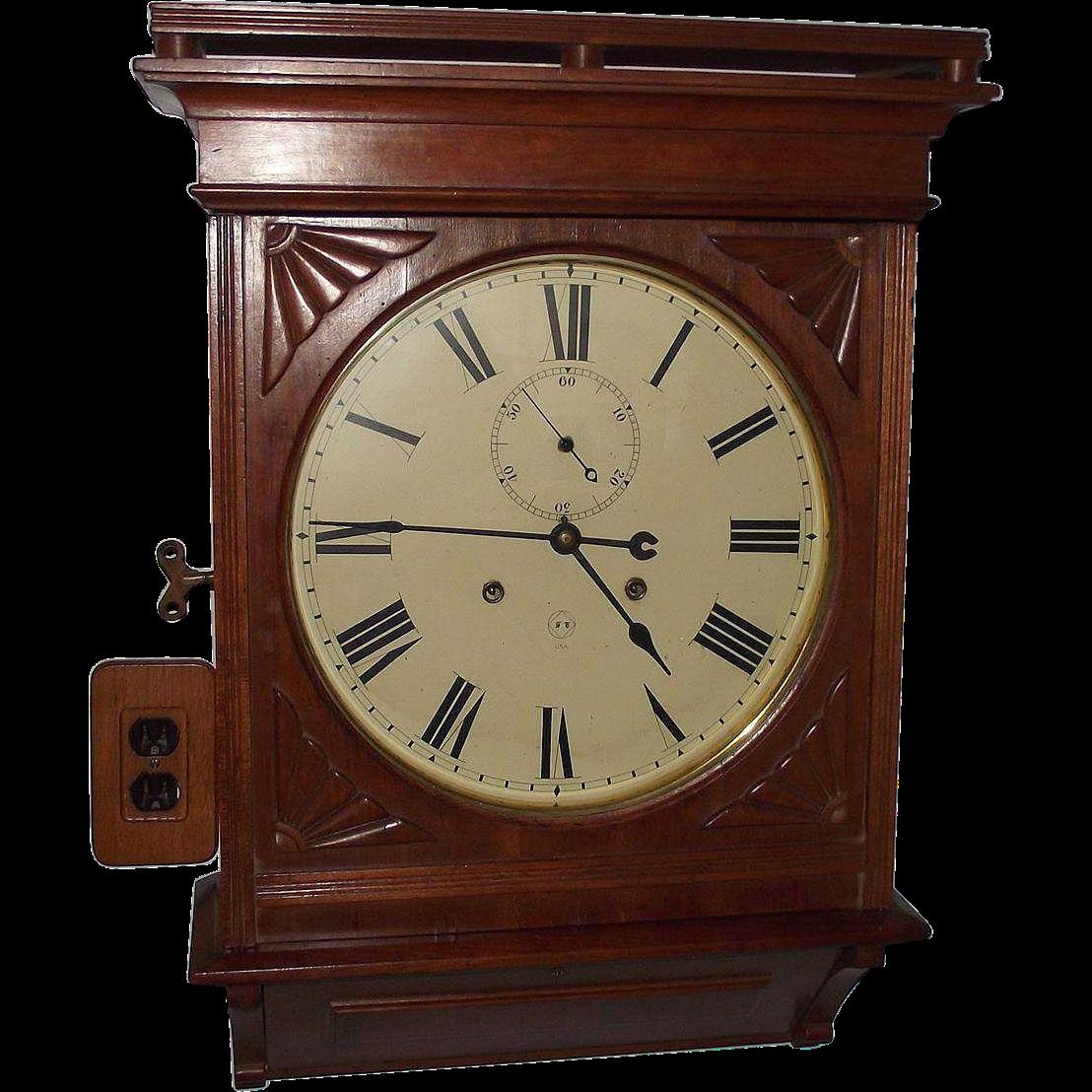 Rare cherry lobby model seth thomas 14 inch dial clock with 2 rare cherry lobby model seth thomas 14 inch dial clock with 2 key 30 day double key wind in an early 1890 case amipublicfo Choice Image