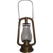 "Rare Early ""Brass U.S. Tubular"" Dietz Model Lantern Complete with marked Globe Circa 1880 to 1887  !!!"