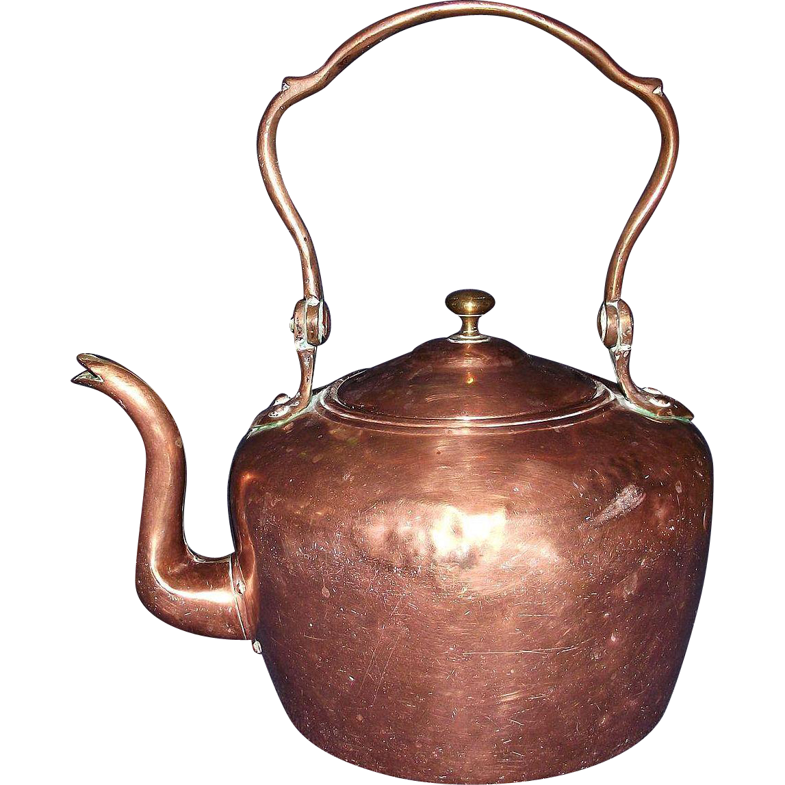Dovetailed Transitional Copper Teapot Circa 1865 !!!