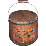 "Wood Pail with Paper Label marked ""California Apricots"" Circa 1890 !!!"