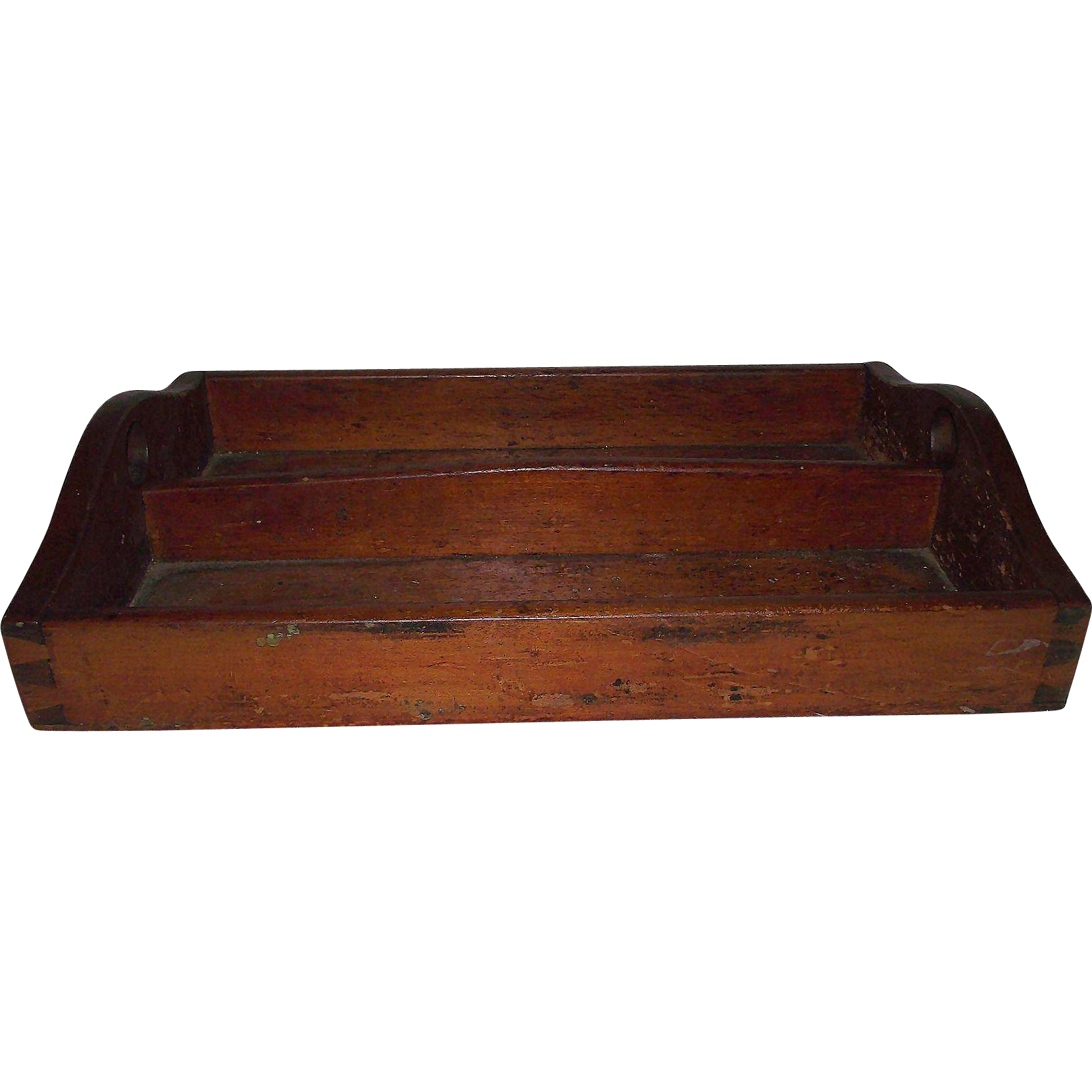 Hand Dovetailed Primitive Pine Kitchen Utensil Tray Circa 1860 !!!