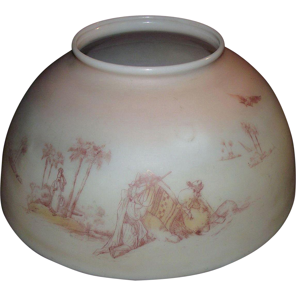 "Antique ""Camel Desert Scene"" 14 inch Blown Glass Library Lamp Shade with Original Factory Decorations with Pastel Pink to White Background Shading !!! Circa 1890."