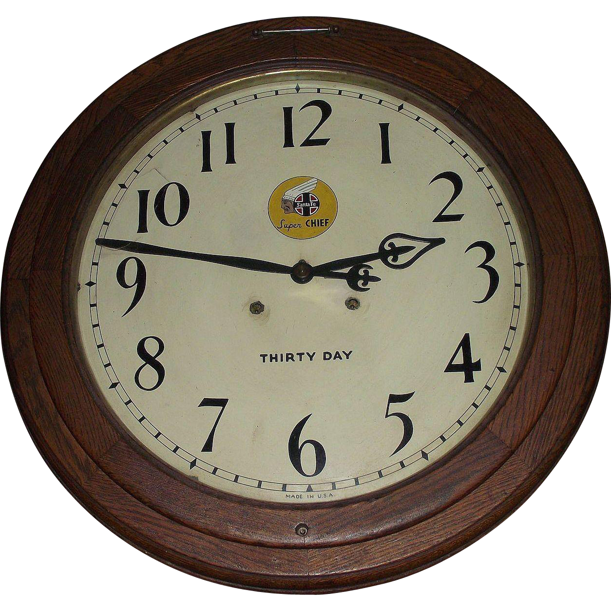 """Santa Fe Super Chief"" painted Dial on a ""Arcade"" Model 30 Day Movement Gallery Clock with 18 inch Dial and 24 inch Solid Oak Case !!! Circa 1916."