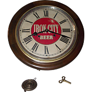 "Authentic ""Iron City Beer"" Advertising Gallery 8 Day Clock with Chime Strike on each Hour !!! Circa 1910 to 1940."