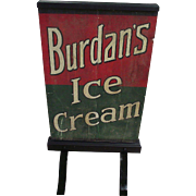 "Rare  2 Sided Wood Curb Sign ""Burdan's Ice Cream"" Circa 1920's !!!"