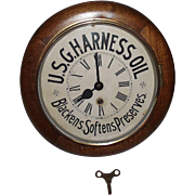 """Authentic """"U.S.G. Harness Oil"""" Advertising Gallery Clock !!! Circa 1910 to 1940."""