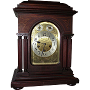 "Impressive Solid Mahogany ""Junghans"" Germany stamped Westminster Chimes Clock with 4 Full Fluted Columns !!! Circa 1915."