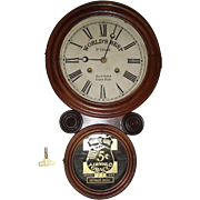 "Rare ""Yankee Girl Tobacco"" Advertiser in Walnut & Rosewood ""Ionic"" Model cased Clock made by E. Ingraham Clock Co. !!! Circa 1906 to 1915."
