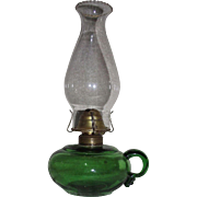 Pure Green Glass Finger Lamp with Gaffer Applied Loop Circa 1880 !!!