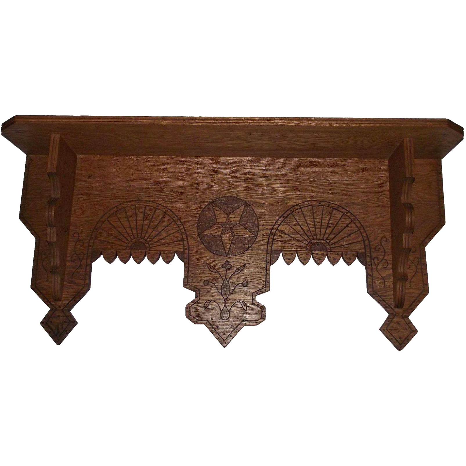"Solid Oak ""Eastlake Wall Shelf"" with Carved ""Tree & Geometric Stars"" Circa 1890 !!!"