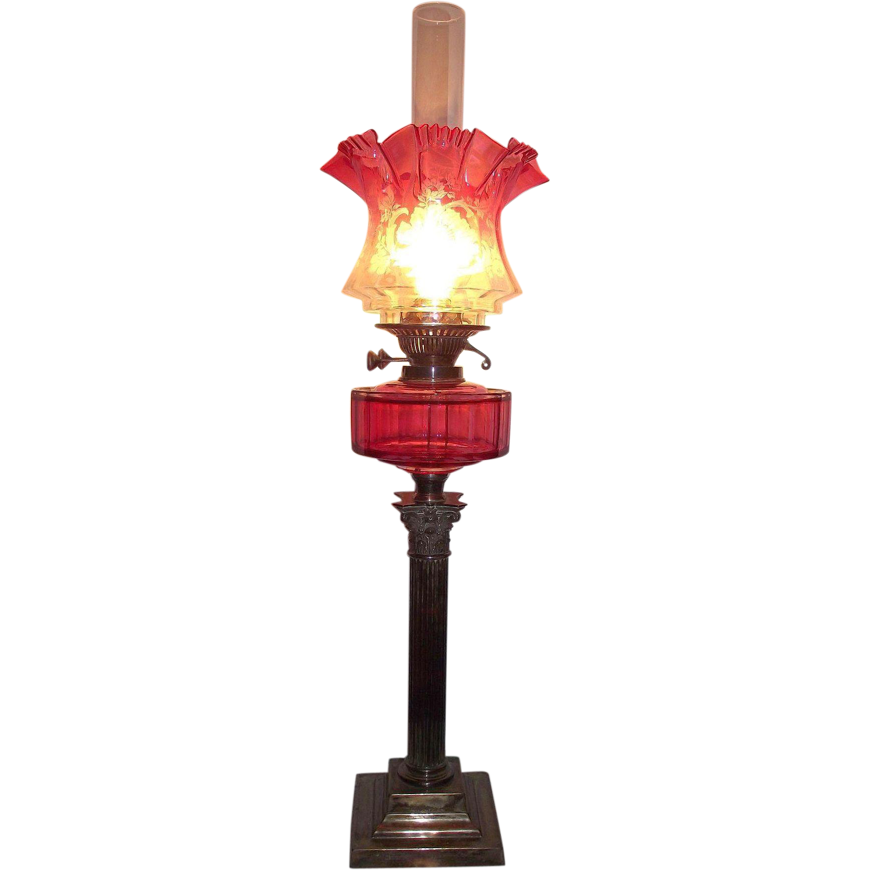 Electrified Cranberry Oil Lamp with Cut Side Panels & Acid Etched Cranberry to Clear Decorated Shade !!!