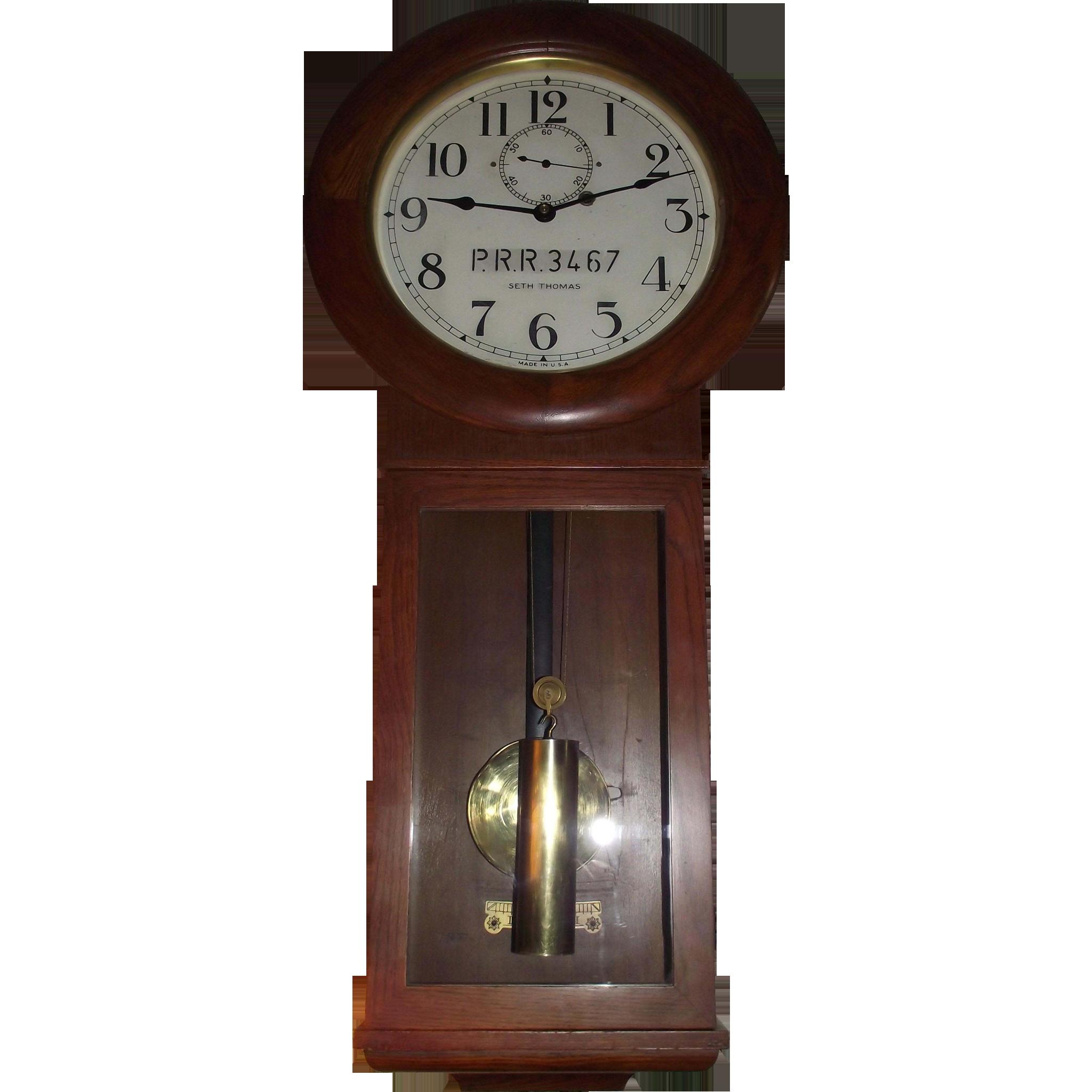 "Authentic ""Pennsylvania Railroad"" marked Seth Thomas # 2 Wall Regulator Clock in Superb Oak Case !!! WW-2 Period Circa 1942."