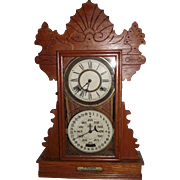 "Rare Feichtinger Calendar Clock in a Golden Oak ""Herndon"" Model Case Circa 1905 !!!"