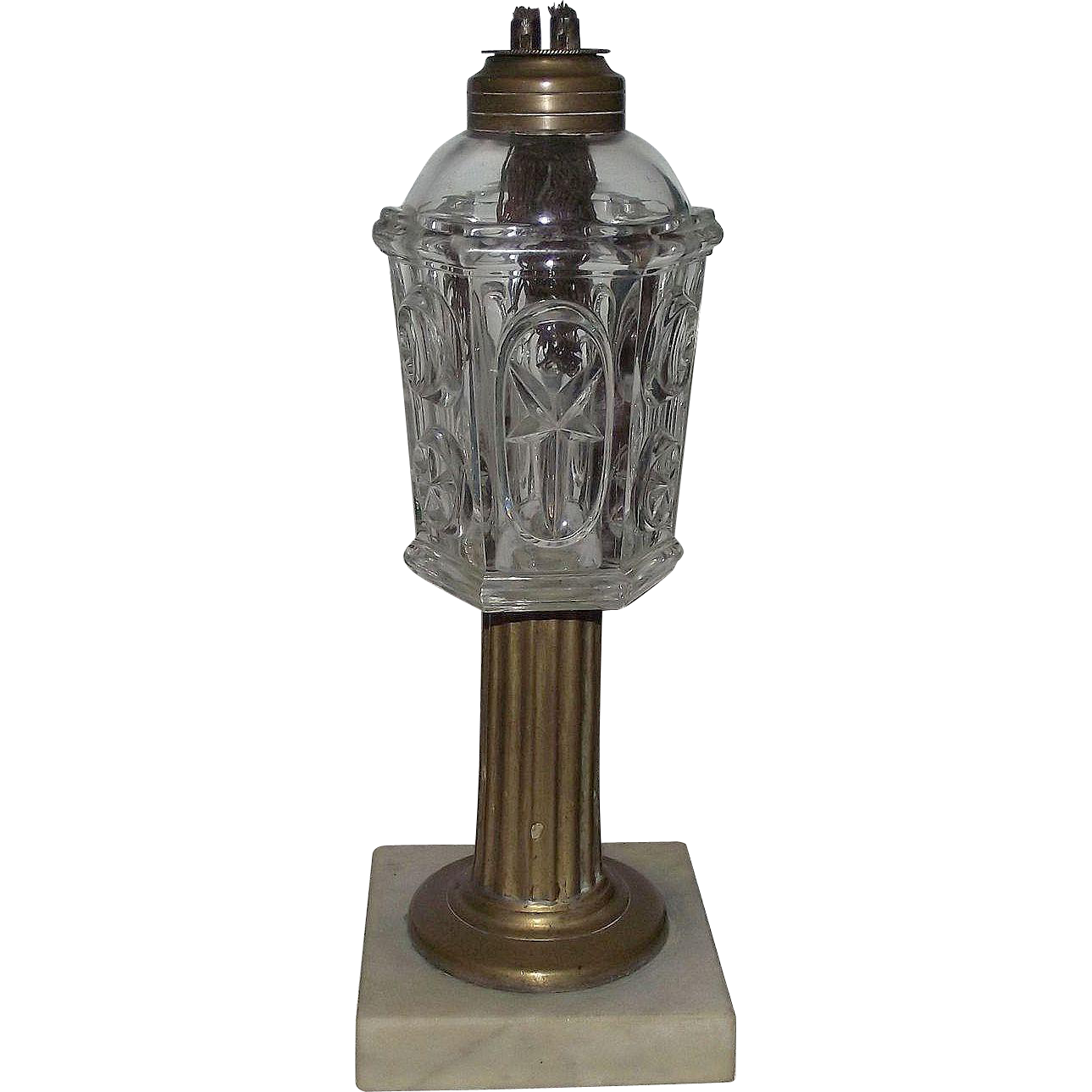 "Pre-Civil War Period ""Starburst * Comet"" Pattern Early Fluid Lamp with twin Tube Whale Oil Burner Circa 1850 to 1860 !!!"