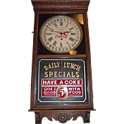 "Combination ""Coca-Cola & F.W. Woolworth"" Store Advertising Regulator Clock with Calendar Date Circa 1925 !!!"