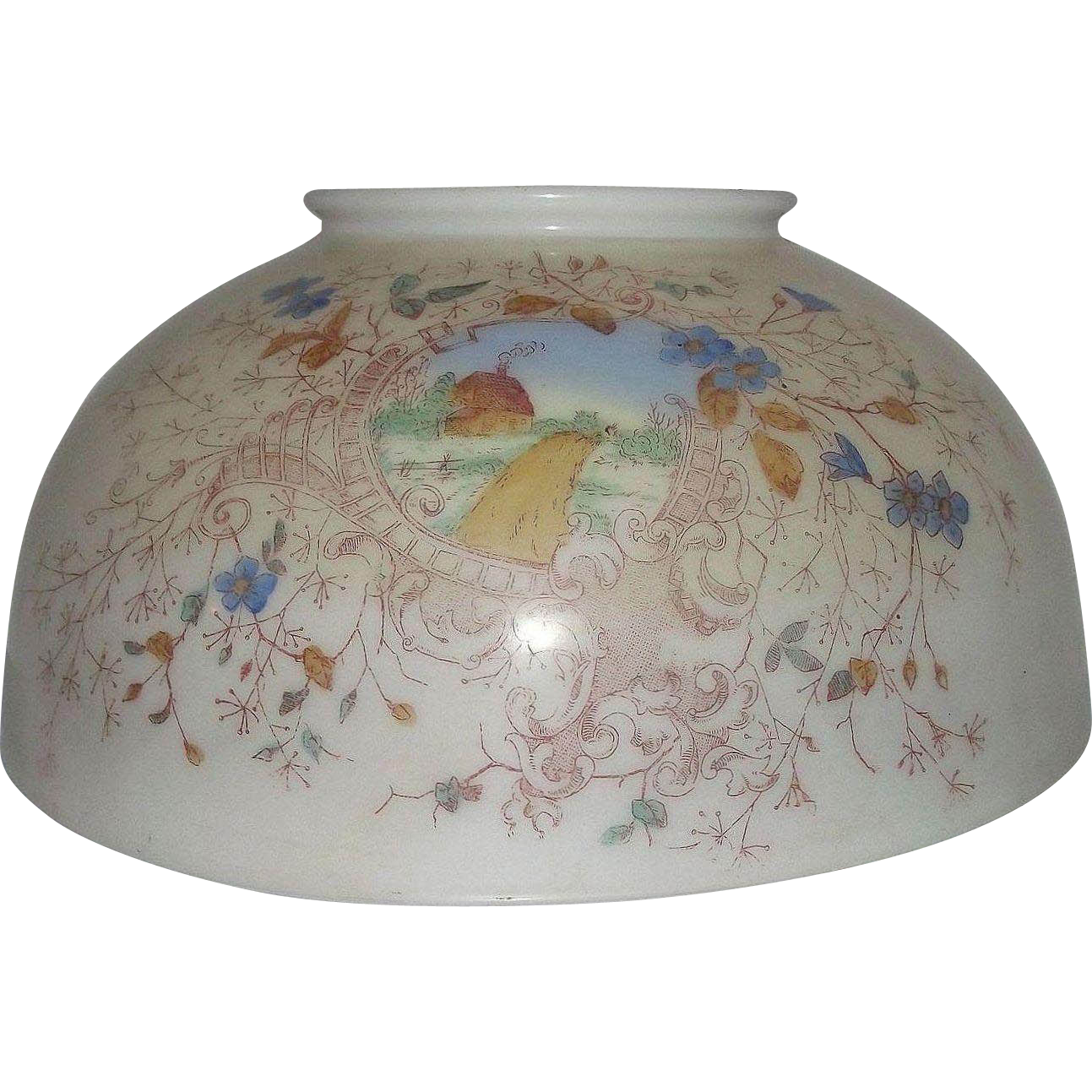 "Antique 14 inch Blown Glass Library Lamp Shade with Original Factory Stenciled and Artist Colored ""Country House"" circa 1890 !!!"
