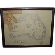 Framed Pencil Drawn Map of Australia signed by T.C. Lesher back dated 1902 !!!