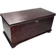 Miniature Walnut Blanket Chest with Working Lock & Key !!!  Circa 1900.