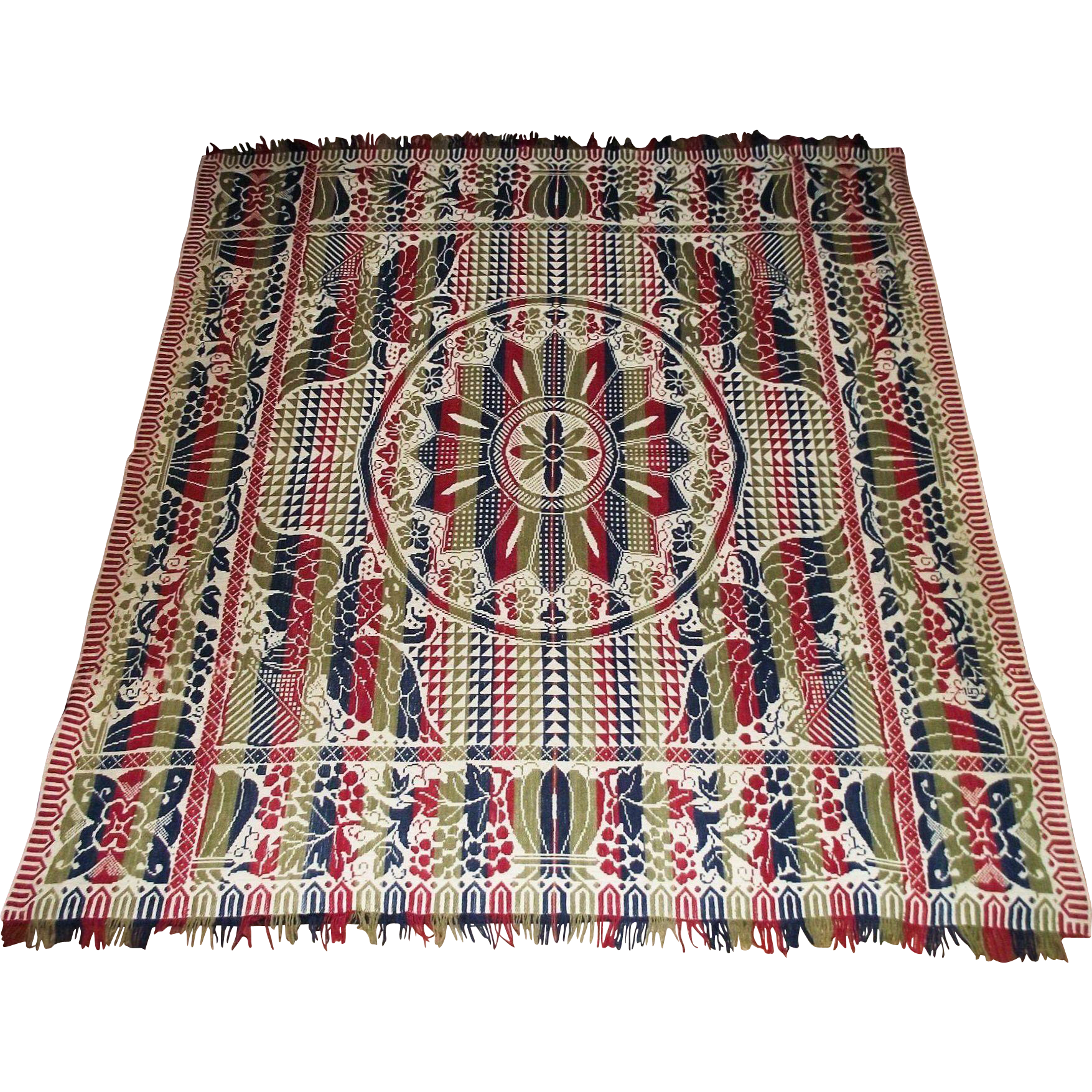"""""""Eagles & Shields"""" Coverlet in Red, White, Blue & Green woven Colors with Central """"Geometric Pinwheel""""  !!! Circa 1870."""