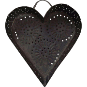 "Primitive Heart Shaped ""Cheese Strainer"" Punch decorated by a Tinsmith."