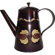 Artist Hand Paint Decorated Toleware Coffee/Tea Pot in Excellent Condition Circa 1875 !!!