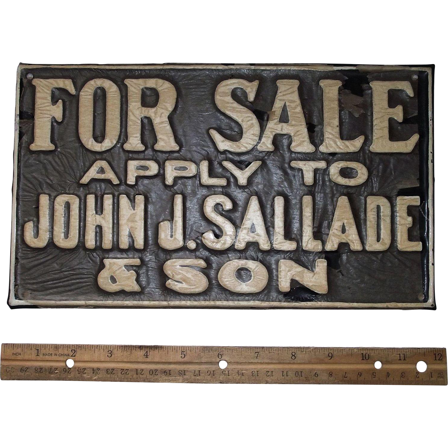 "Vintage ""For Sale * apply to John F. Sallade & Son"" Porcelain Metal Sign from a Reading,Pa. Real Estate Agent Circa 1920 -30's !!! N.O.S."
