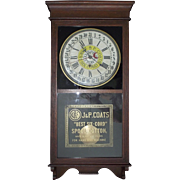 "Authentic ""J. & P. Coats Spool Cotton"" Advertising Store Time Regulator & Calendar Date Clock in a Steam Pressed Golden Oak Case!!! Circa 1915."