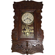 "Rare Hanging Gingerbread ""Old Coon Tobacco"" Advertising Clock, made by New Haven Clock Co. with a Steam-Pressed Solid Oak Case Circa 1910 !!!"
