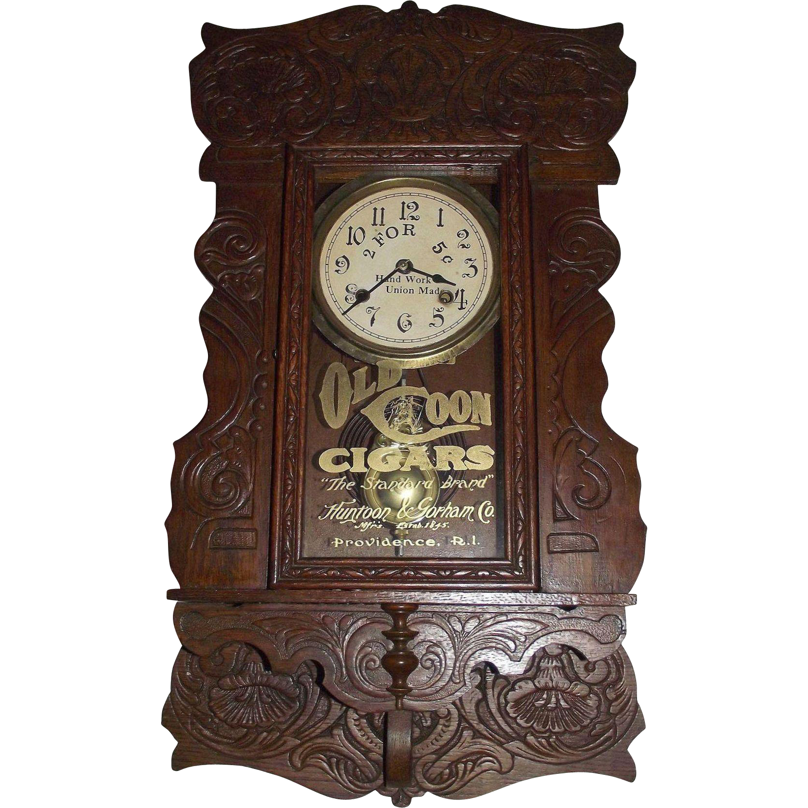 """Rare Hanging Gingerbread """"Old Coon Tobacco"""" Advertising Clock, made by New Haven Clock Co. with a Steam-Pressed Solid Oak Case Circa 1910 !!!"""