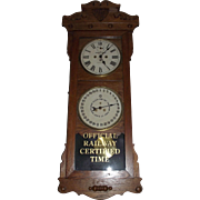 "Historic ""Baltimore & Ohio Railroad * Akron,Ohio."" Double Dial 30 Day Calendar Clock in a New Haven ""Rutland"" Model Oak Case Circa 1914 !!!"
