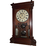 "RARE Seth Thomas ""Lincoln"" Model Solid Black Walnut Shelf Clock with Deluxe Nickel Plated Weights and Damascened Bob !!! Eight Day Time & Strike Clock Circa 1880."