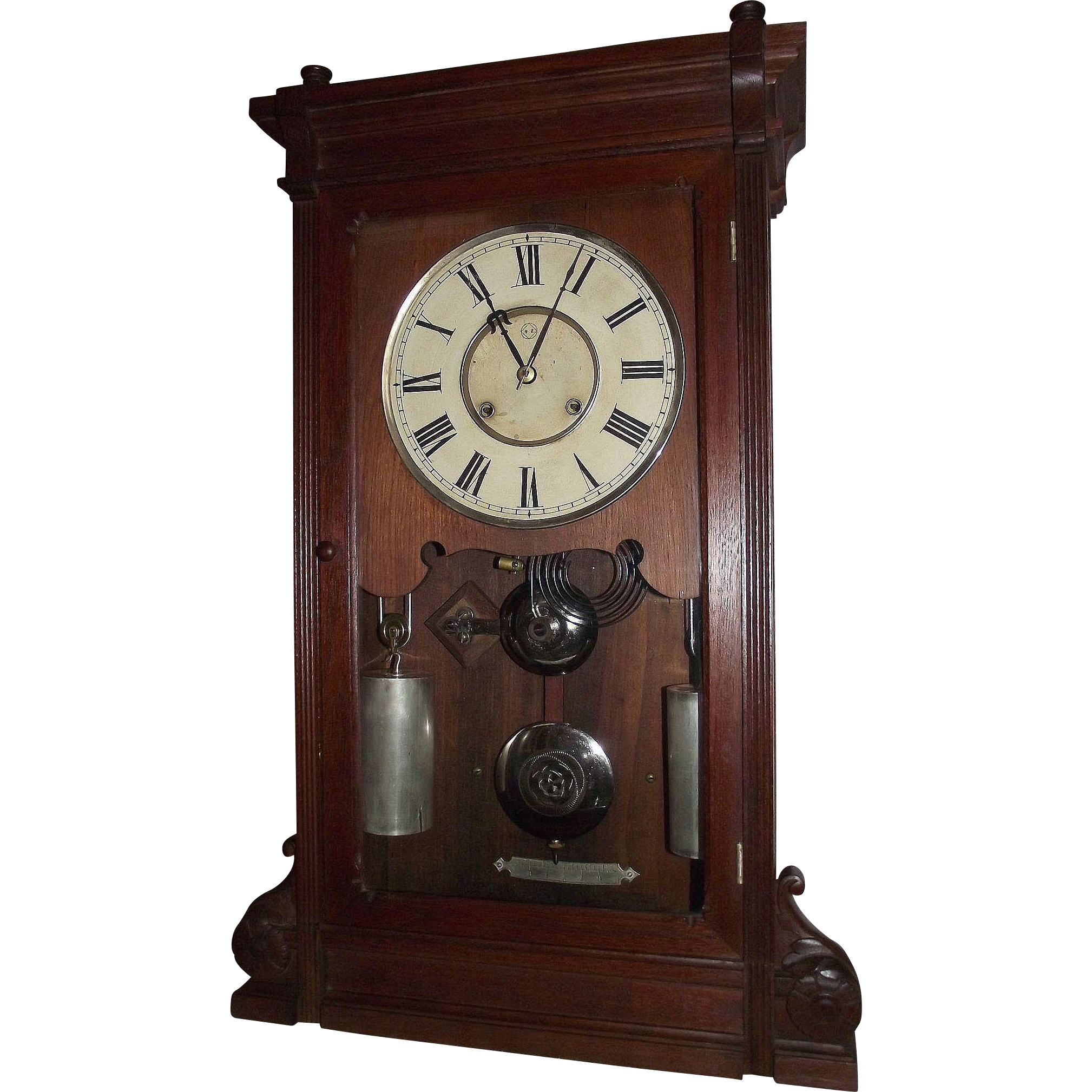 """RARE Seth Thomas """"Lincoln"""" Model Solid Black Walnut Shelf Clock with Deluxe Nickel Plated Weights and Damascened Bob !!! Eight Day Time & Strike Clock Circa 1880."""