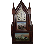 """Double Decker Steeple Clock"" made by ""Terry & Edwards"" with Original Reverse Painted Glass Tablets Circa 1835 !!!"