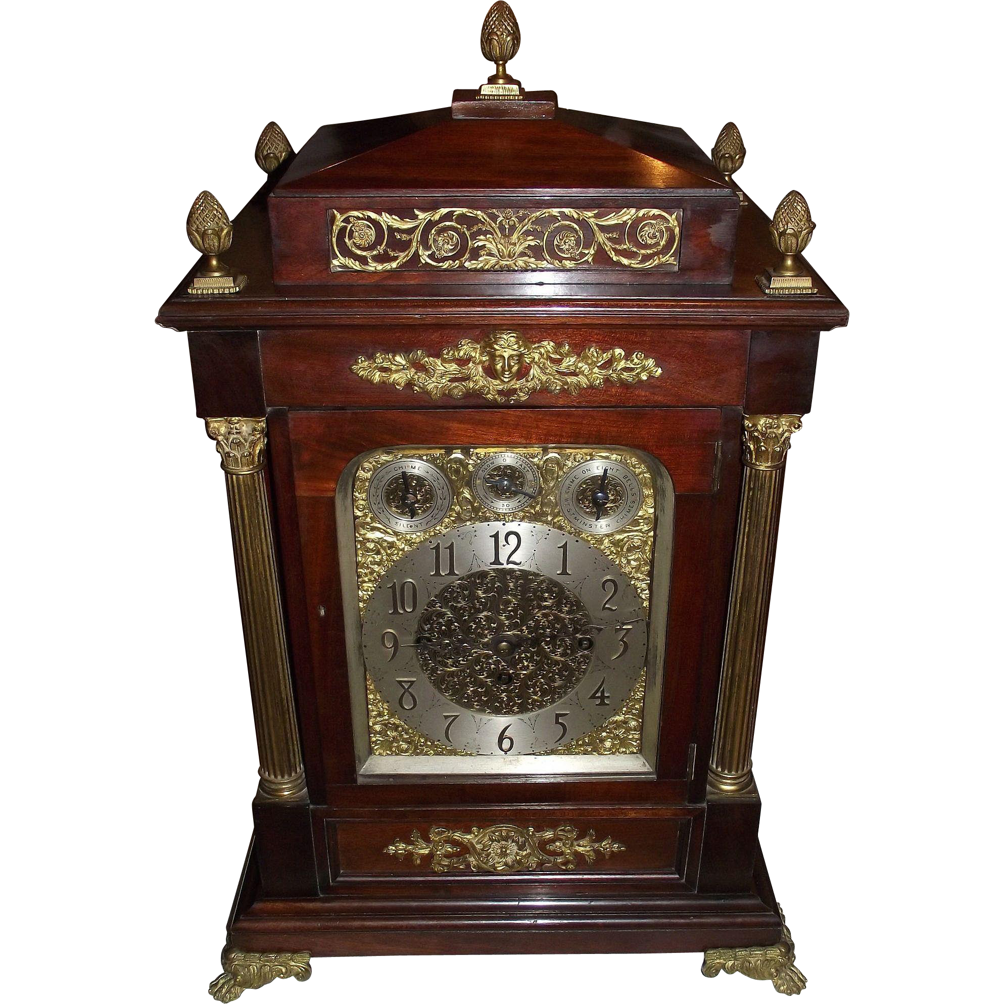 Monumental English Musical Triple Fusee Movement Bracket Clock which plays 8 Bells, or 5 Chime Coils Selectively !!! Circa 1880.