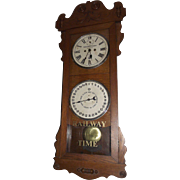 "Historic B. & O. Railroad ""Cumberland,Md. * Queen City Hotel & Passenger Station"" Double Dial 30 Day Calendar Clock ""Rutland"" Model Oak Case made by the New Haven Clock Co. Circa 1914 !!!"