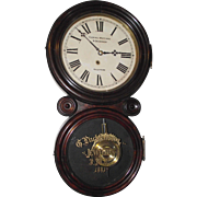 "Gustave Luchtenberg Jeweler's Advertising Clock, from Columbus,Ohio * Rosewood ""Ionic"" Model, with Deluxe Brass Pendulum Bob & Gold Leaf on Tablet Dated 1881 !!!"