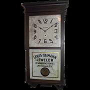 "Authentic ""Louis Heimann Jeweler * Morristown,NJ."" Advertising Store Regulator Clock Circa 1935 !!!"