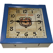 "Square ""IGA"" Food Store Wall Clock used as Advertiser for ""Correct Time & Correct Prices"" Ca. 1929 made by New Haven Clock Co."