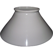 Rare Blown White Glass Slant Shade with 4 5/8 inch Top Fitter Circa 1890.