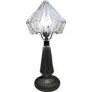 """Press-Cut Crystal"" Ladies Budoir Light with Nickel Plated Metal Hardware Circa 1949."