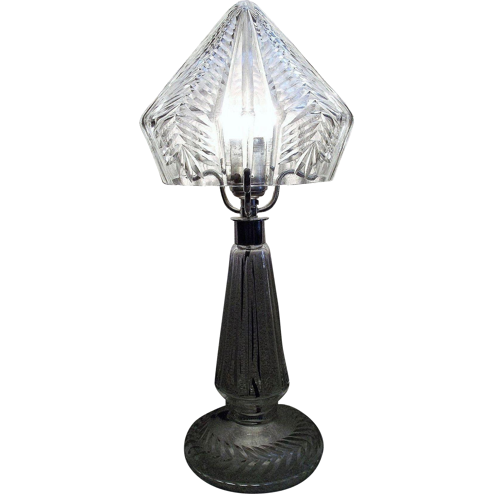 """Press-Cut Crystal"" Ladies Budoir Light with Nickel Plated Metal Hardware Circa 1949."